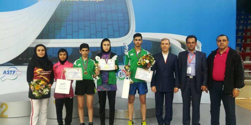 الینا رحیمی و سامران کریمی دو بازیکن نوجوان ایران در مسابقات بین المللی تنیس روی میز نوجوانان و نونهالان جمهوری آذربایجان بخوش درخشیدند.